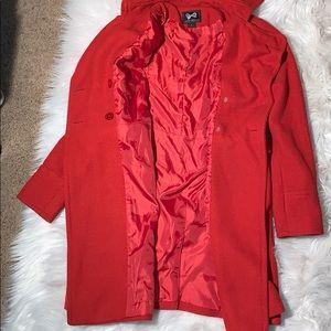 Forever 21 Jackets & Coats - Forever 21 Red Orange Women's Pea Coat